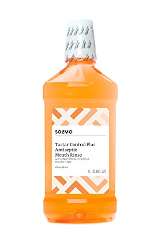 Amazon Brand - Solimo Tartar Control Plus Antiseptic Mouth Rinse, Citrus, 1 Liter, 33.8 Fluid Ounces, Pack of 1
