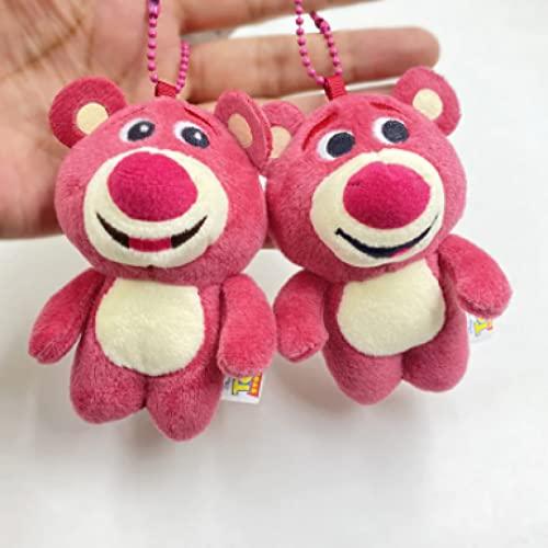 Betory 2 pcs Lotso Anime Toy Story3 Peluches de Peluche, 9 CM Colgantes de Mochila Llavero Figura de Felpa, Colgantes de decoración navideña, Regalo para niños