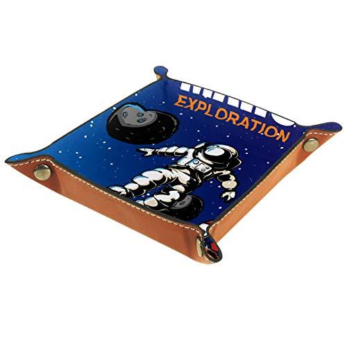 ATOMO Plateau de rangement en cuir Mars Exploration Astronaute Planète Clés Bijoux Pièces Divers Organiseur de chevet Petit plateau de rangement pour clés, téléphone