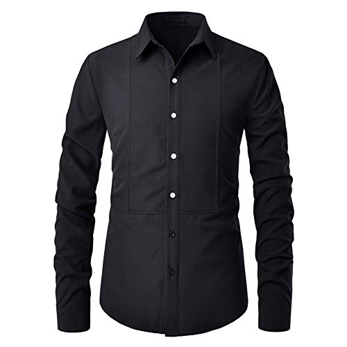 HJHK Men's Shirt Long Sleeve Slim fit Kent Collar Modern Sequin Patchwork Men's Shirt Business Casual Elegant Men's Shirts 2021 Spring Autumn New Tops Wedding Party Classic Shirt L