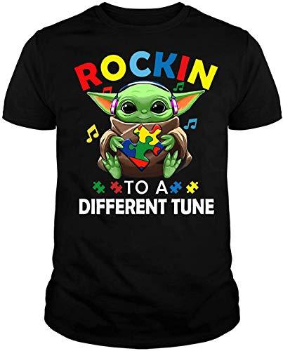Rocking to The Different Tune Baby-yo-da Autism Awareness Starwars Music Gift T-Shirt Black