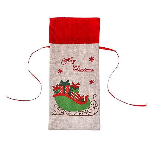 Jeromeki Cubierta de la Botella de Vino del SuéTer de la Navidad, Bolsas de Vino Reutilizables para la DecoracióN NavideeA de la CelebracióN de DíAs Festivos, A