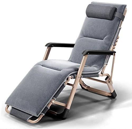 OESFL Sillas reclinables Plegable al Aire Libre Tumbona for Heavy Personas, de Gran tamaño al Aire Libre Silla de Gravedad Ajustable con Cojines Multifuncional Hamaca