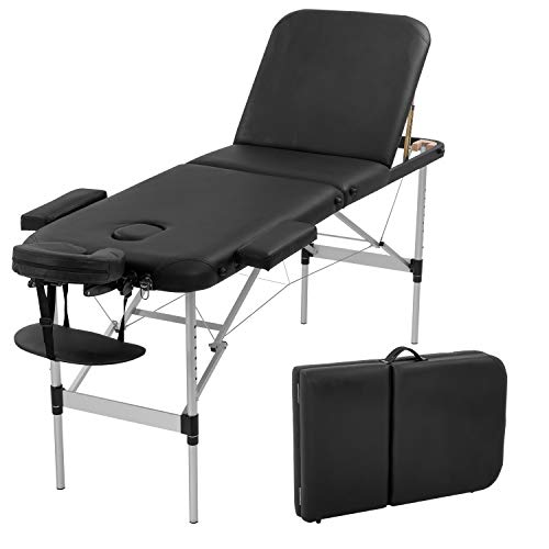 Aluminium Massage Table Portable Massage Bed 73 Inch Long Height Adjustable 3 Folding Massage Table Carry Case Spa Bed Face Cradle Salon Bed Tattoo Bed