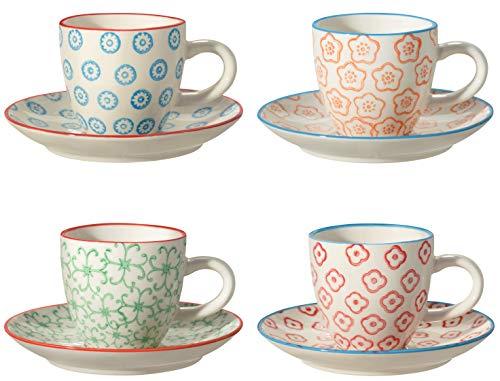 Bloomingville Espressotasse mit Untertasse Emma, rot grün blau orange, Keramik, 4er Set