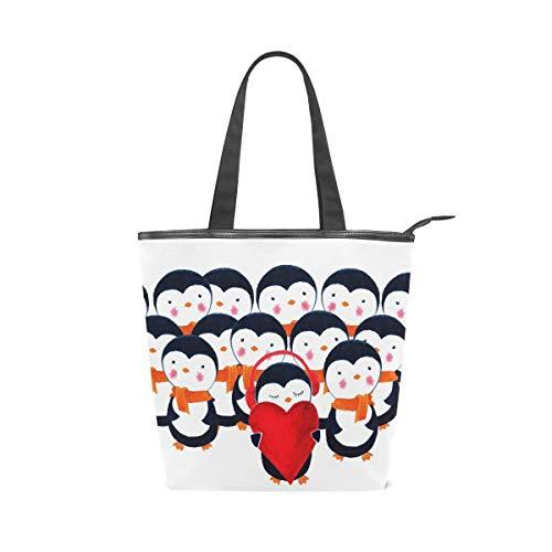 Femme Sacs à main Dessin animé mignon Pingouin chœur Tote sur toile Sac à bandoulière