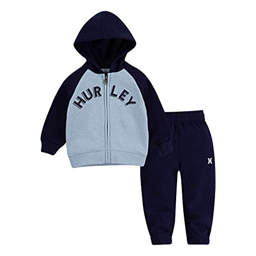 Hurley Baby Boys Hoodie and Joggers 2-Piece Outfit Set, Chambray Blue Heather/Black, 12M