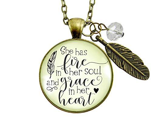 """Gutsy Goodness 24"""" She Has Fire in Soul Necklace Grace Heart Women Feather"""