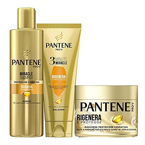 Pantene Pro - V Balsamo 3 Minute Miracle, Rigenera & Protegge, 150ml + Pantene Pro-V Maschera Rigenera e Protegge + Shampoo Protezione Cheratina Rigenera e Protegge per Capelli Secchi