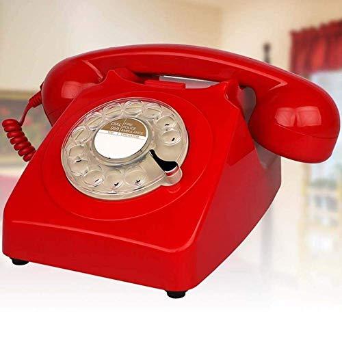 Hermosa Teléfono, Teléfono de estilo retro / Teléfono Vintage / Teléfono de escritorio clásico con Dialer Rotary Dial Dial Disc Retro Teléfono Retro en el estilo sinuoso del teléfono fijo retro Authen