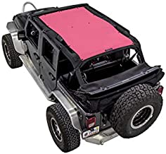 SPIDERWEBSHADE Compatible with Jeep Wrangler Mesh Shade Top Sunshade UV Protection Accessory USA Made for your JKU 4-Door (2007-2018) in Pink