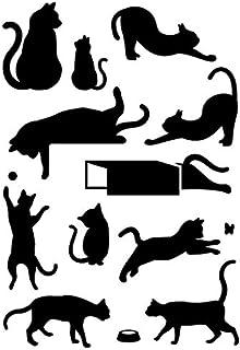 猫 ネコ ねこ キャット ポーズ・シルエット ステッカー・シール 光沢タイプ・耐水・屋外耐候3~4年【A5】 (黒)