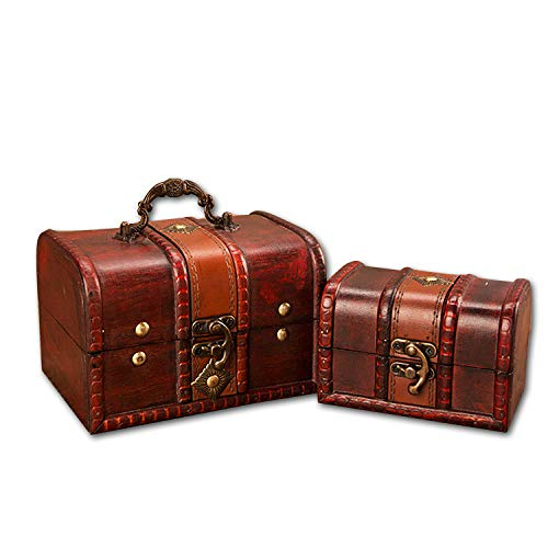 Easy 99 2 Pcs Vintage Wooden Box Small Wooden Crates Treasure Chest for Jewelry Storage Home Decoration