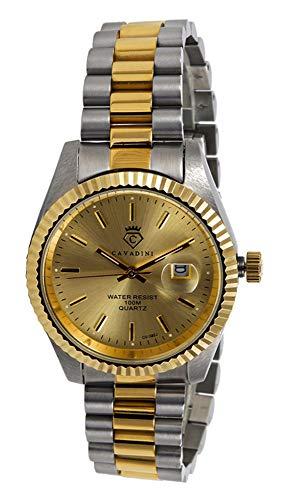 CAVADINI Herren-Armbanduhr Leonardo Analog Quartz mit Edelstahlarmband CV-332 (Gold/Bicolor)