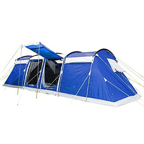 Skandika Tunnelzelt Montana Protect 8 Personen   eingenähter Zeltboden, 3-4 Schlafkabinen, 5000 mm Wassersäule, Moskitonetze, 4 Eingänge, große Fenster, Sonnensegel, Familienzelt (blau)