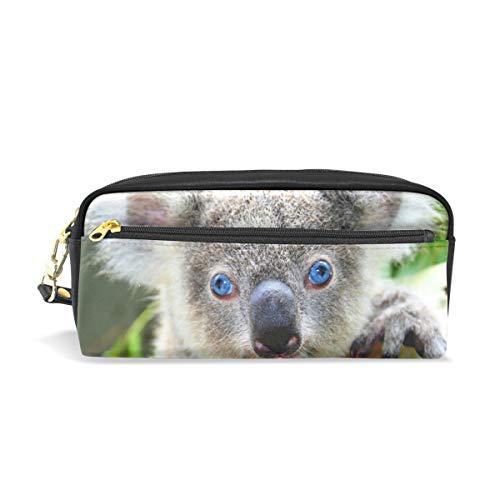 Eslifey Koala Pochette portable en cuir PU avec yeux bleus Sac à crayons pour enfants Trousse de maquillage Trousse de beauté