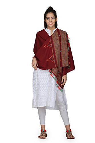 THE WEAVE TRAVELLER Women's Cotton Handloom Hand Woven Mercerised Bhujodi Dupatta (Red; 25 W X 80 L Inches)