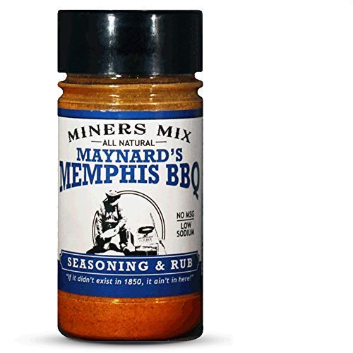 Miners Mix Maynards Memphis Championship BBQ DRY Rub. Big Bold Flavor For Low N Slow Smoking Spare Ribs, Baby Backs, Butts, Pulled Pork, Brisket, or Beef. No MSG, Low Salt, All Natural. 6 oz jar