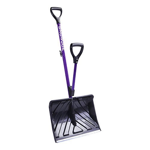Snow Joe SJ-SHLV20-PRP Poly Back-Saving Telescoping Snow Shovel, Purple
