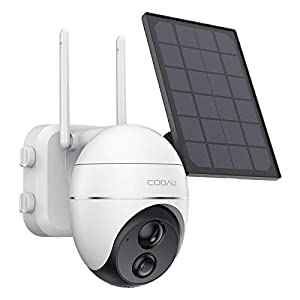 Wireless Pan Tilt Security Camera with Solar Panel, Outdoor Wi-Fi PTZ CCTV Camera Rechargeable 15000mAh Battery Powered, Night Vision, Motion Detection, 2 Way Audio, IP65 Waterproof, SD/Cloud Storage