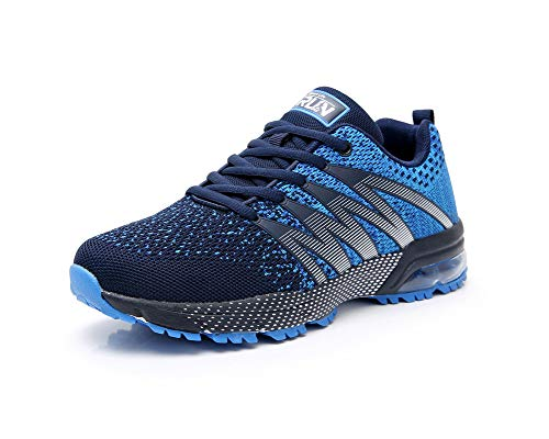 Axcone Mens Trail Running Walking Sport Lightweight Breathable Mesh Casual Road Running Shoes 8995bl43 Blue