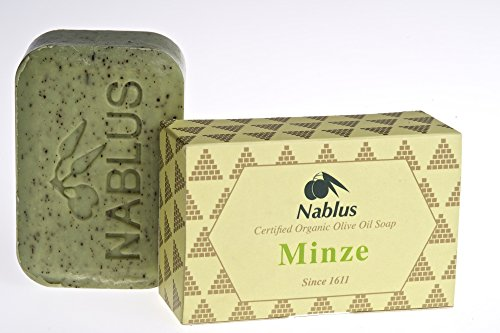 Nablus Soap Savon à l'huile d'olive naturel Menthe 100 g Idéal pour les peaux sèches, sans huile d'olive 80 % d'olive