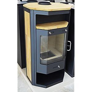 Estufa de leña 14/17 kW chimenea quemador de troncos bajo emisiones BlmSchV-2 Sandstone forro