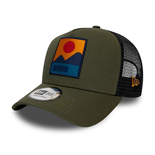 New Era Hawaii Cap Verstellbar Trucker Kappe Sommer Patch USA Oliv - One-Size