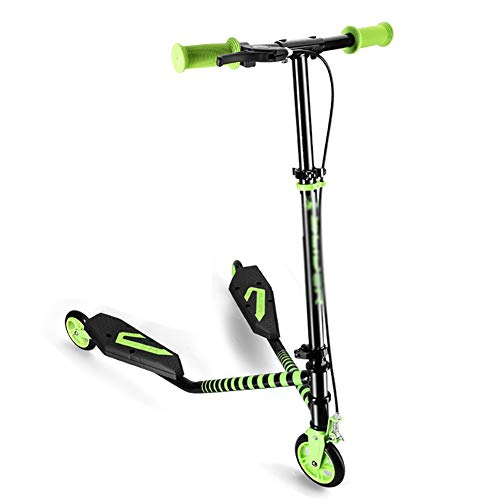 Best Deals! Scooters Kids with Handbrake, Foldable Swing Wiggle with Height Adjustable Handlebar for...