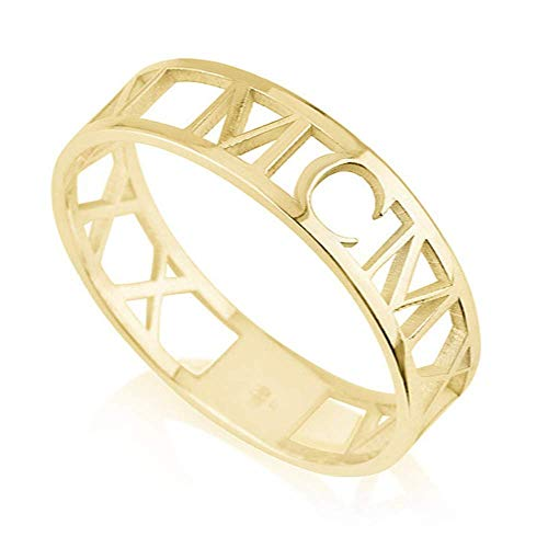 Gaosh 925 Sterling Silber Damen Ring mit Personalisierter 3D Römische Ziffern Name für ihr Geschenk für Geburtstag Valentinstag Jahrestag mit Geschenkbox (Gold, 60 (19.1))