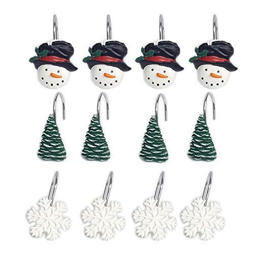 YING CHIC YYC Set mit 12 kreativen Schneeflocken-Duschvorhang-Haken Weihnachten Badezimmer Harz Duschvorhangringe