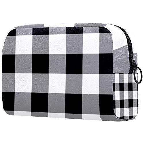 Bolsa de maquillaje con patrón de cuadros de búfalo negro y blanco, organizador para viajes, neceser portátil, para niñas, mujeres