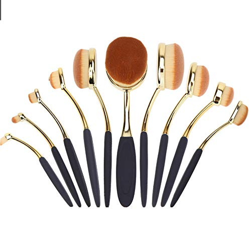 Hileyu Make-up Pinsel Set, 10 Stück Kosmetik Bürsten Set, Zahnbürste Make up Pinsel, Professionelle Make up Pinsel für Anfänger, Premium Pulver Creme Kosmetik Pinsel Foundation Pinsel für Damen