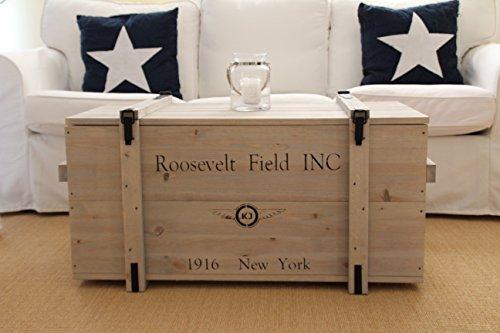 Uncle Joe´s Truhe Roosevelt Couchtisch Truhentisch im Vintage Shabby chic Style aus Massiv-Holz in grau mit Stauraum und Deckel Holzkiste Beistelltisch Landhaus Wohnzimmertisch Holztisch
