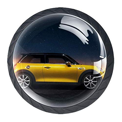 Yellow Car Cabinet knob Crystal Glass Furniture Round knobs for Kid's Gift to décor Kids Room Best Home décor for Cabinet Cupboard Dresser Pack of 4 1.38 X 1.1 inch