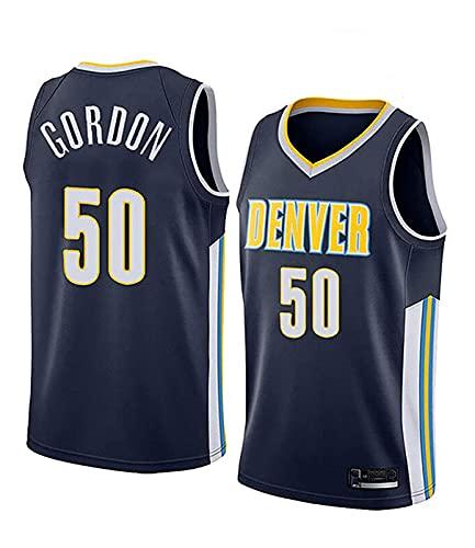 ZMIN Jersey Men's Denver Nuggets # 50 Gordon Basketball Retro Transpirable Secado rápido Gimnasio Chaleco Deportivo Top,Negro,S 165~170cm