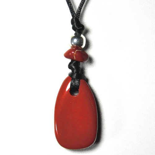 Jaspe - rojo - Cadena - colgante con forma de cinta de tela - joyas de piedras preciosas, objeto de piedra de la suerte