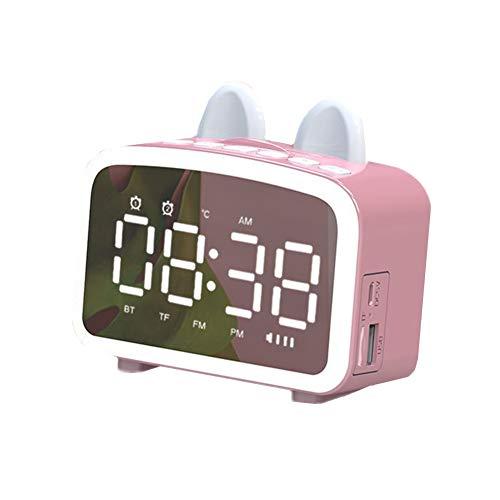 TUANTALL Kinderwecker Radio Wecker Alarm Uhren Nacht Digitale Alarm Uhren Nacht Smart Uhr Uhren Für Schlafzimmer Alarm Uhren Für Kinder Kleine Uhr Pink,One Size