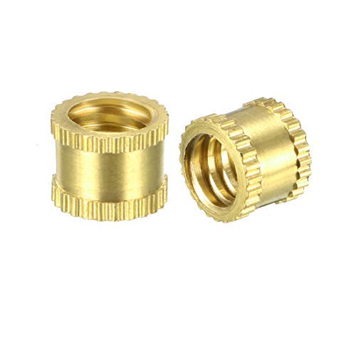 5 Pieces Knurled Insert Nuts DealMux M8 x 10 mm L x 10 mm OD Brass Insert Assortment kit with Female Thread