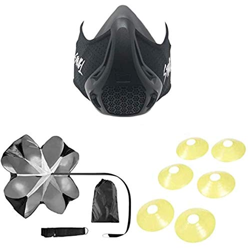 STRNGL Workout Kit with Training Mask, Running Parachute and 6 Agility Cones - High-Speed Gear Altitude Strength Training Equipment - Workout Gear for Men - Athletic Masks for Build Muscles