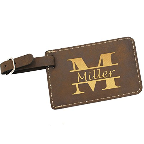 Custom Personalized Luggage Tag - Engraved Travel - Monogrammed (Rawhide with Gold)