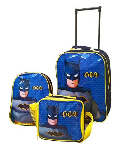 Batman Backpack, Trolley Holiday Suitcase and Lunch Bag, Travel Set, Kids Luggage Bundle (Batman Standard Trolley Set)