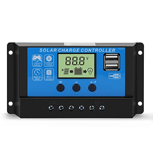 Flexzion PWM Solar Charge Controller LCD Display (30A amp 12V 24V volt) Multi-Function Adjustable Load Regulator, Battery Charger, Street Light Timer Dual USB Port Solar Panel Battery Renewable Power