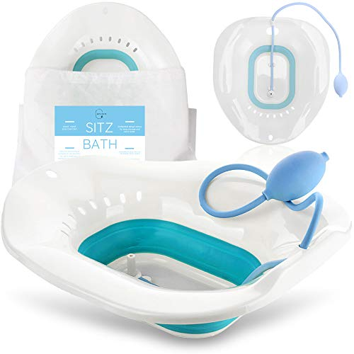 Sitz Bath for Toilet Seat - Postpartum Care, Soothes Hemorrhoids & Perineum - Yoni Steam Seat for Toilet - Collapsible, Easy to Store, Fits Most Toilet Seats - Vaginal/Anal Soaking Steam Seat