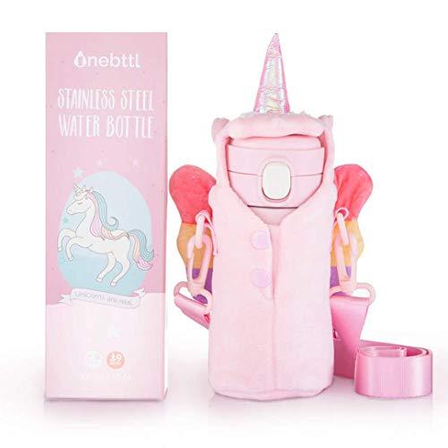 Onebttl Regalos de Unicornio Niñas – Botella de Agua de Acero Inoxidable Aislada al Vacío para Niños, SIN Popote, Sujetador de Botella de Agua Incluido - 300ml/10 oz