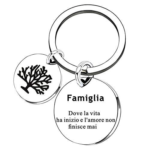 Portachiavi Regali familiari - Famiglia Dove la Vita ha Inizio e L'Amore Non finisce mai