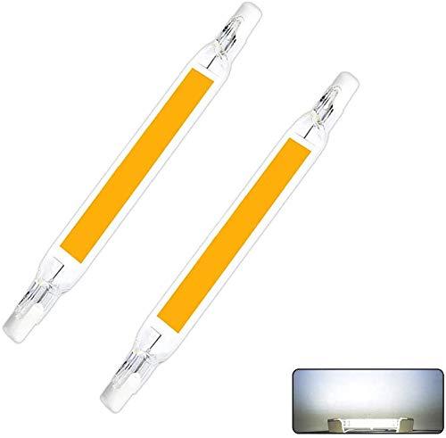 Fornorm Lot de 2 ampoules R7S COB LED non variables avec base de lampe linéaire et angle de faisceau de 360 78mm 5W 230V, Couvercle en verre, céramique., Lumière blanche chaude, 5W/78mm 230V, R7s