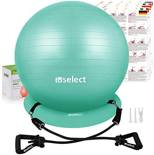 HBselect Balle de Fitness pour Pilates Ballon Grossesse Ballon Gym et de Grossesse décathlon Gym Ball fitball swissball Sitting Ball 65 cm,avec Base de Stabilité, Bandes de Résistance, Notice & Pompe