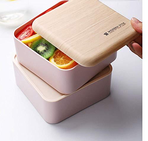 Fiambrera portátil de picnic de grano de madera simple, conjunto de fiambrera de Fitness para trabajadores de oficina, Fiambrera calentable de doble capa
