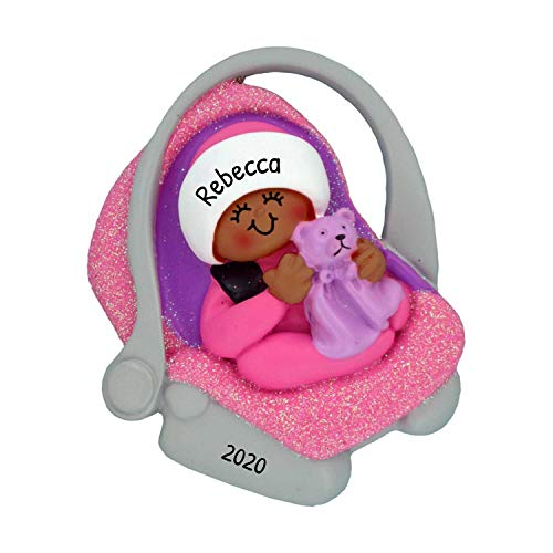 Personalized Baby Carrier Christmas Tree Ornament 2020 - African-American Girl Teddy Bear Car Seat Carry Winter Pink Carriage Shower New Mom Tradition Holiday Grand-Daughter Kid - Free Customization
